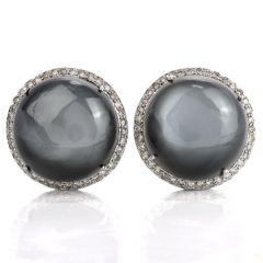 Estate Moonstone Cabochons Diamond Stud Earrings