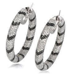 17.21 Carat Black & White Diamond 14K Gold Stripe Hoop Earrings