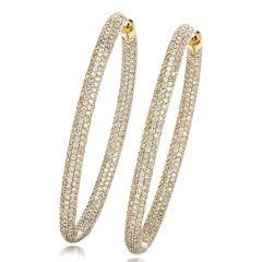 10.69 Carat Diamond 14K Gold Oval Hoop Earrings