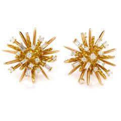 David Yurman Diamond 18K Gold Supernova Stud Earrings