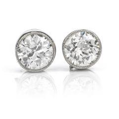 Vintage Diamond 18K Gold Old European Bezel Stud Earrings