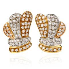 Estate Diamond 18K Tri-Color Gold Omega Clip Back Earrings