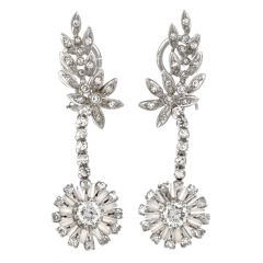 Vintage Diamond Chandelier Platinum Dangling Clip Earrings