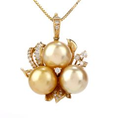 Estate Diamond Southsea Diamond Pearl 14k Gold Pendant Enhancer