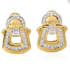 Estate Diamond 18K Yellow & White Gold Door Knocker Earrings