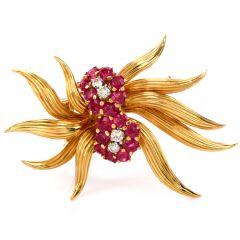 Vintage Diamond Ruby 18K Gold Flower Pin Brooch