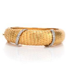 Vintage Van Gogh Diamond 18K Gold Feather Motif Bangle Bracelet