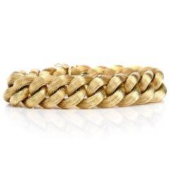 Vintage Italian 18K Gold Textured Chain Link Braided Bracelet