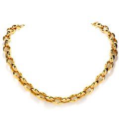 Nanis High polished Link 18K Gold Chain Chocker Necklace