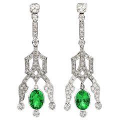 Estate Diamond Emerald 18K Gold 6.22ct Oval Drop Dangle Earrings