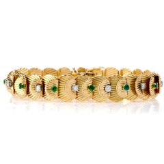 Van Cleef & Arpels Vintage Diamond Emerald 18K Gold Bracelet