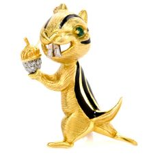 Estate Diamond Emerald Black Enamel 18K Yellow Gold Squirrel Pin