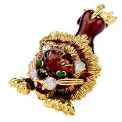 Frascarolo Vintage Diamond Green Onyx 18K Gold Lion Brooch Pin