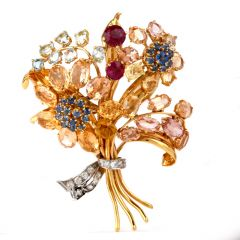 Vintage Diamond & Multi Stone 18K Gold Flower Bouquet Clip Brooch