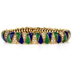 Vintage Diamond Blue & Green Enamel 18K Yellow Gold Bracelet