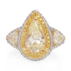 Natural yellow Pear Diamond Platinum Gold Engagement Ring