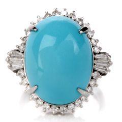 Estate Diamond Persian Turquoise Platinum Oval Halo Ring