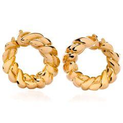 Vintage Van Cleef & Arpels 18K Yellow Gold Clip-On Hoop Earrings