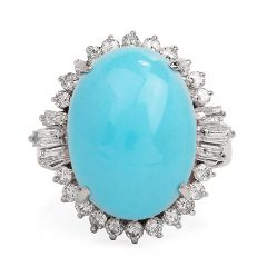 Estate Diamond Turquoise Platinum Oval Halo Ring
