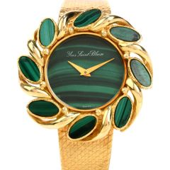 Vintage Yves Saint Blaise Malachite 18K Gold Mechanical Watch