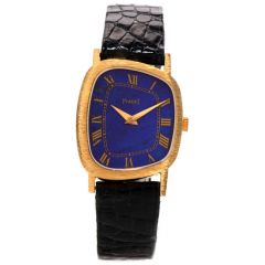 Vintage Piaget Lapis 18K Gold Ref 9487 Leather Abstract Watch