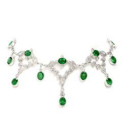 Estate Diamond Emerald 18K Gold 24ct Oval Drop Necklace
