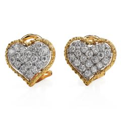 Buccellati Vintage Diamond 18K Gold Heart Clip on Earrings