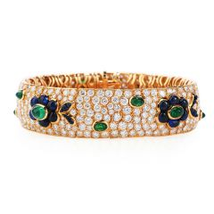 Vintage French wide Diamond Sapphire  Emerald Gold Bracelet
