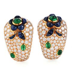 Vintage French Diamond Sapphire Emerald clip on Gold Earrings