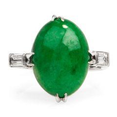 GIA 4.82 Carats Green Jade Diamond Platinum Cocktail Ring