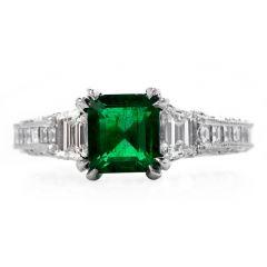 Tacori Diamond Certified Zambian Emerald Platinum Engagement Ring