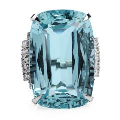 Vintage GIA 40.45ct Aquamarine Diamond Platinum Cocktail Ring