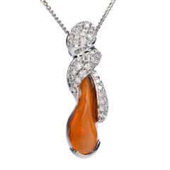 Estate 4.84ct Fire Opal Diamond Platinum Twist Pendant