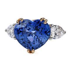 GIA Ceylon Heart 12.58 ct Sapphire Diamond Three Stone Engagement Ring