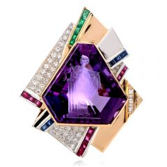 Estate Art Deco Diamond 29.29ct Intaglio Amethyst  18K Gold Platinum Brooch