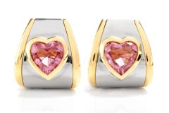 Dover Jewelry Marina B. Pink Tourmaline Heart 18K Earrings