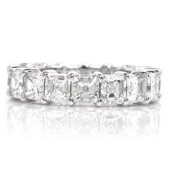 Square Cut 6.36-carats Diamond Eternity Platinum Band Ring
