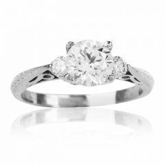 Tacori Diamond Platinum Engraved Engagement Semi-mount Ring