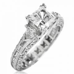 Tacori Diamond Platinum 3 Stone Eternity Engagement Semi-mount Ring