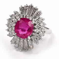 Estate Ruby Baguette Diamond Ballerina Platinum Ring