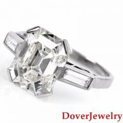 Antique Deco 5.16ct Asscher Cut Diamond Platinum Engagement Ring