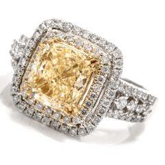Elegant Cushion Diamond Double Halo 18K Engagement Ring