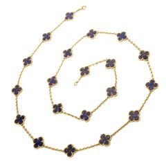 Van Cleef and Arpels Vintage Lapis Lazuli Alhambra 20 Motif 32 Inch Necklace