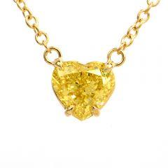 2.04 Carat Fancy Intense Yellow GIA Heart Diamond 18K Necklace