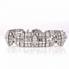 Antique Art Deco Geometric Diamond Platinum Link Bracelet. Front