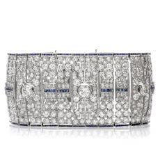 Baroness Diamond Sapphire Art Deco Platinum Bracelet