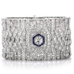 Exalted Diamond Sapphire Art Deco Wide Platinum Bracelet