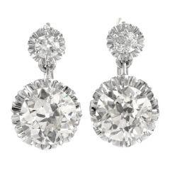 Dangling Buttercup 4.23 Carats Diamond 14K Two Toned Eurowire Earrings