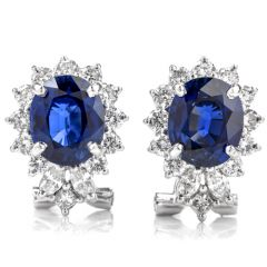 Natural Sapphire and Diamond 18K Omega Clip Earrings