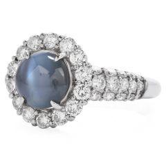Estate GIA Diamond & Cat's Eye Alexandrite Platinum Cocktail Ring